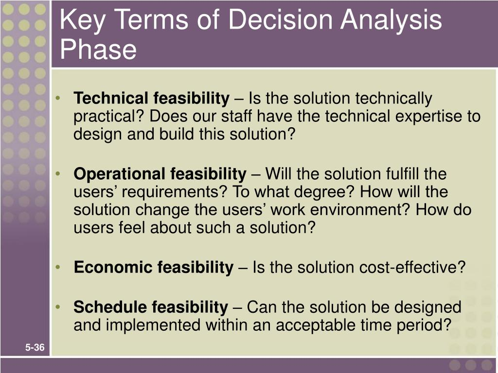 Key Terms of Decision Analysis Phase