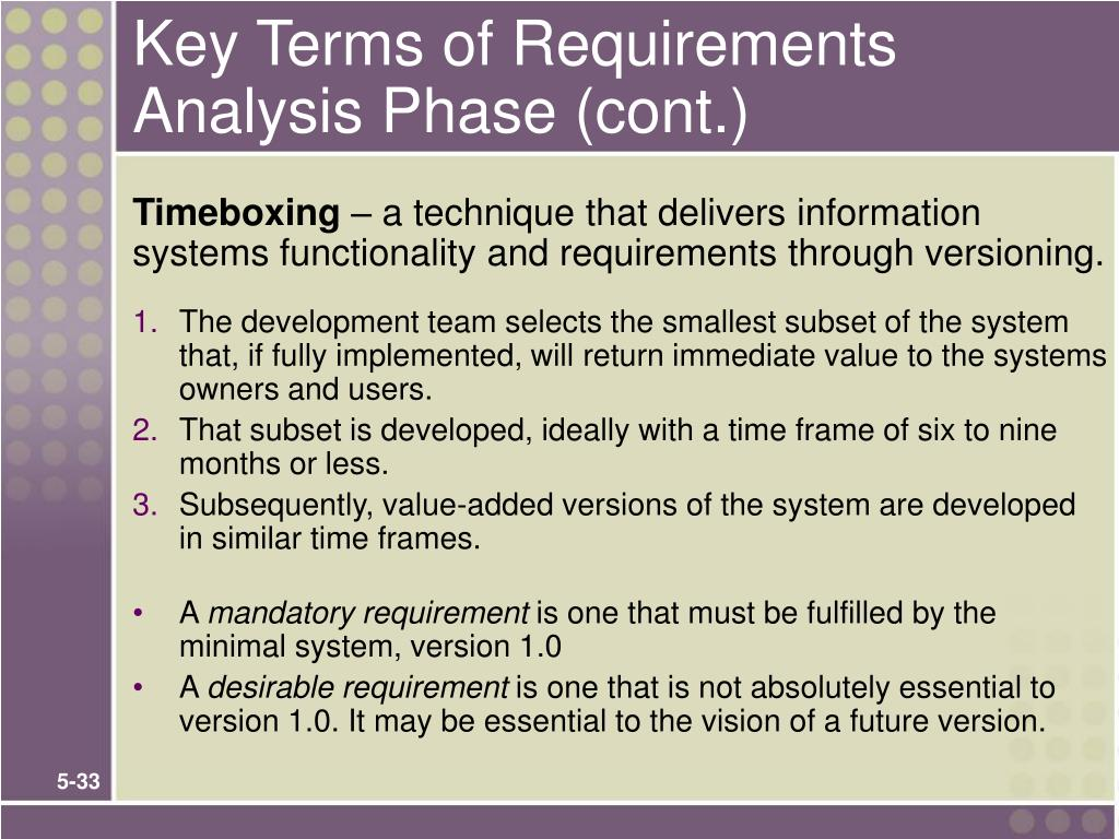 Key Terms of Requirements Analysis Phase (cont.)