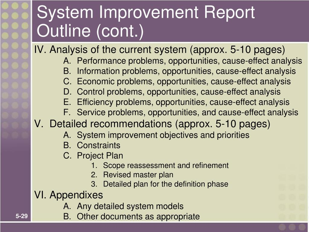 System Improvement Report Outline (cont.)