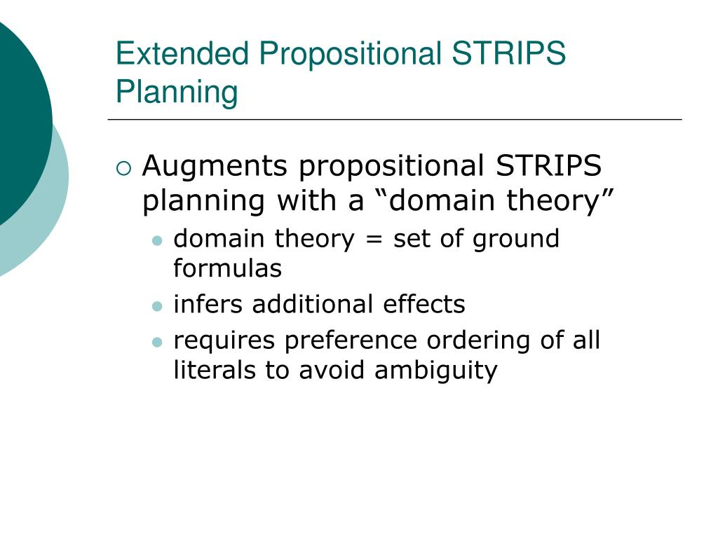 Extended Propositional STRIPS Planning