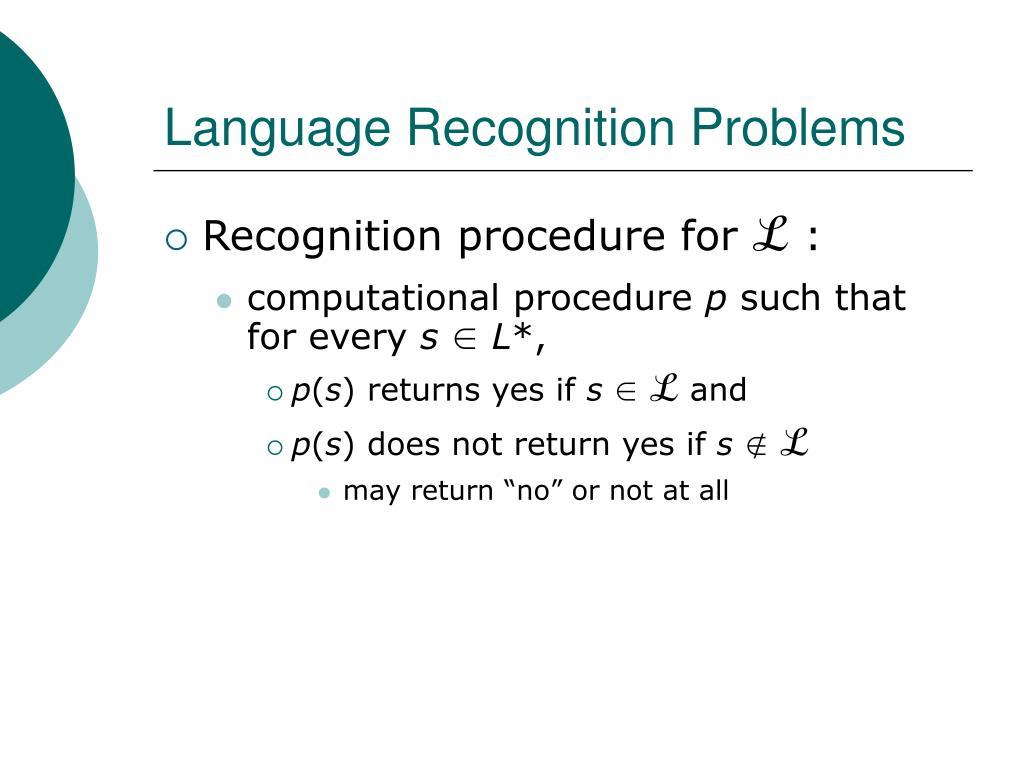 Language Recognition Problems