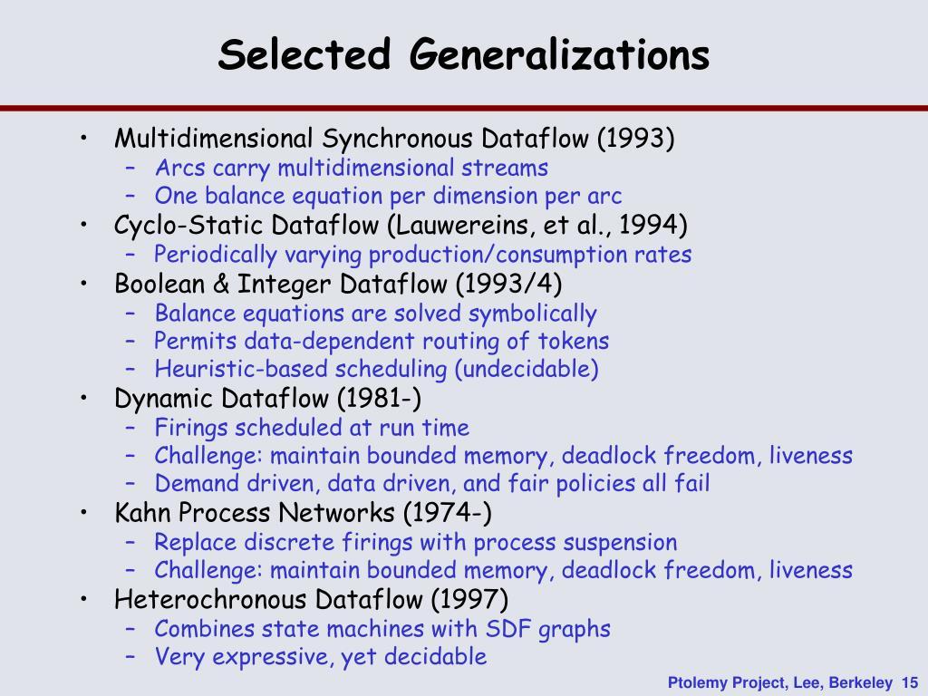 Selected Generalizations