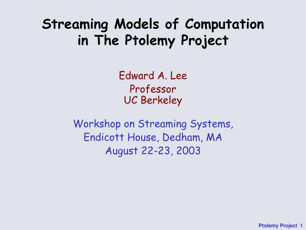 Streaming Models of Computation