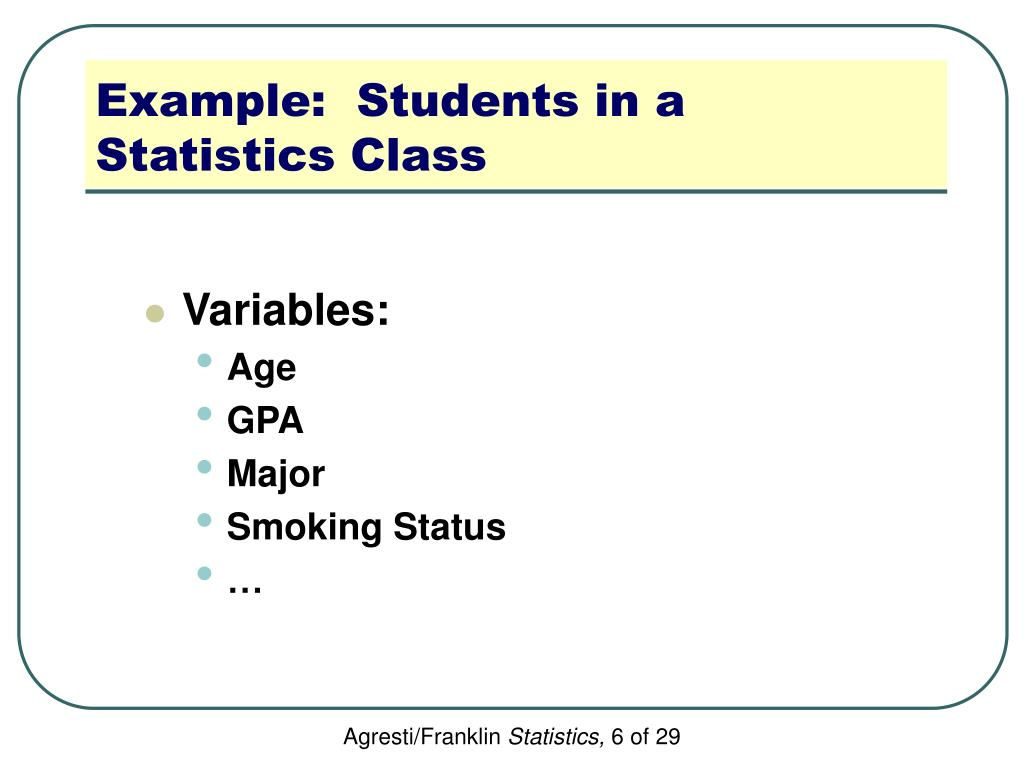 Example:  Students in a Statistics Class
