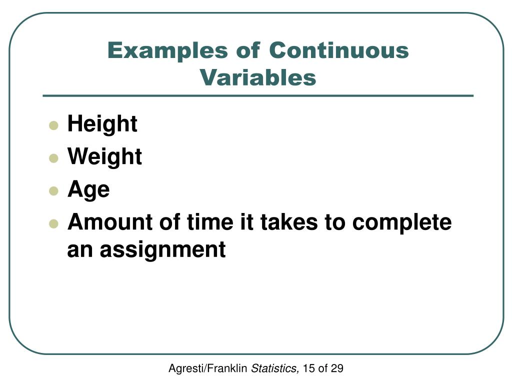 Examples of Continuous Variables