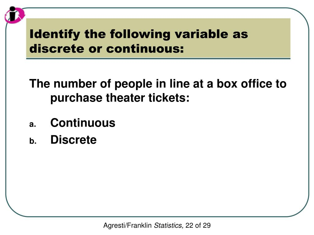 Identify the following variable as discrete or continuous: