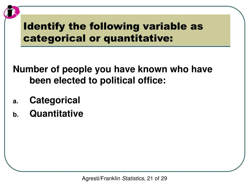Identify the following variable as categorical or quantitative: