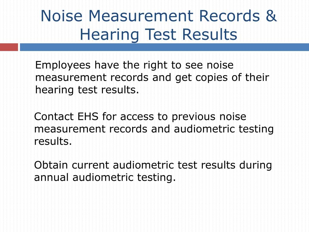 Noise Measurement Records & Hearing Test Results