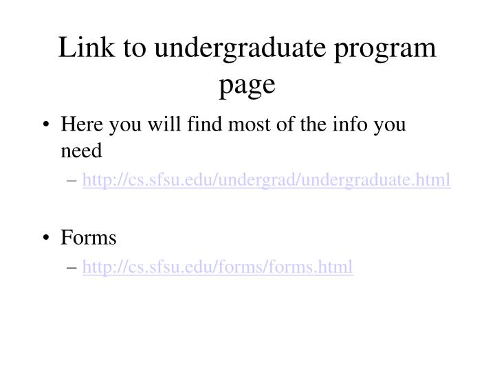 Link to undergraduate program page