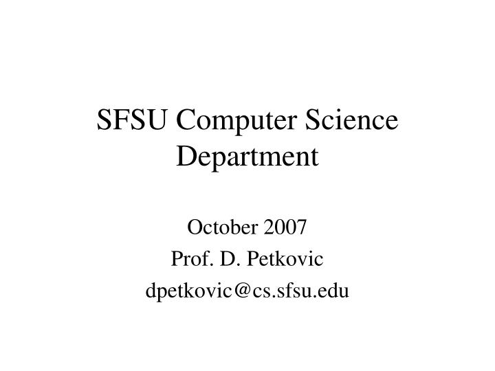 Sfsu computer science department