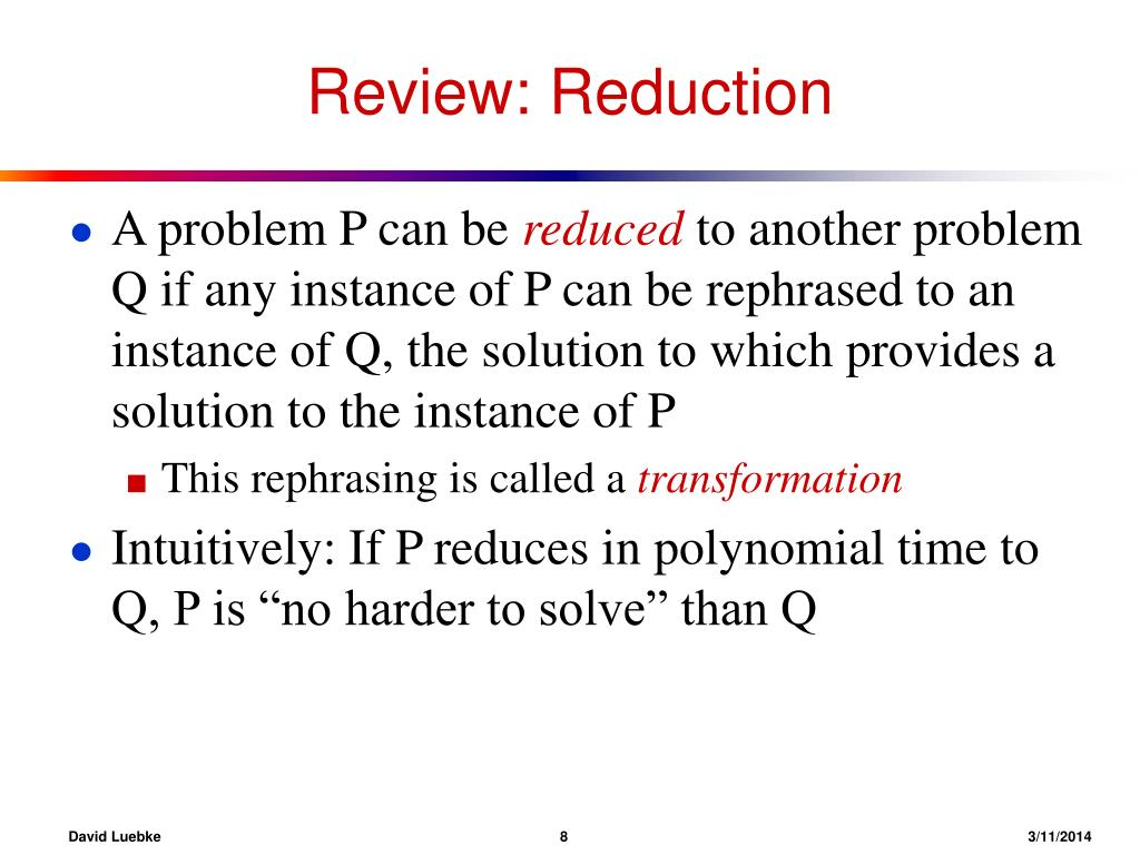 Review: Reduction