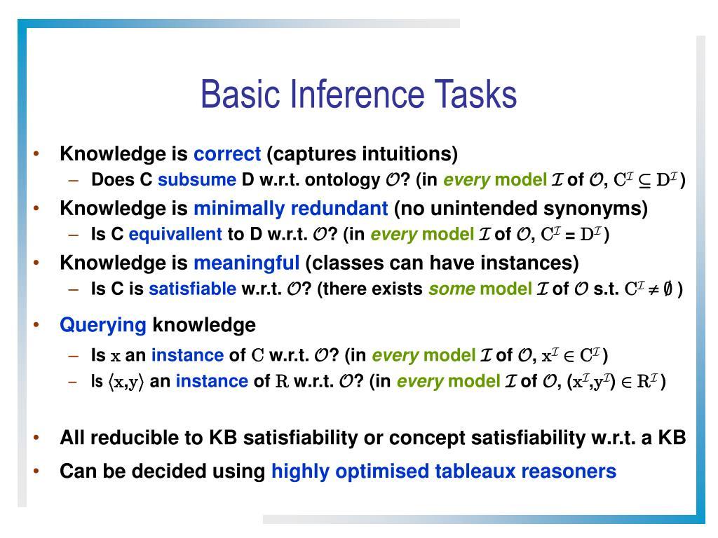 Basic Inference Tasks