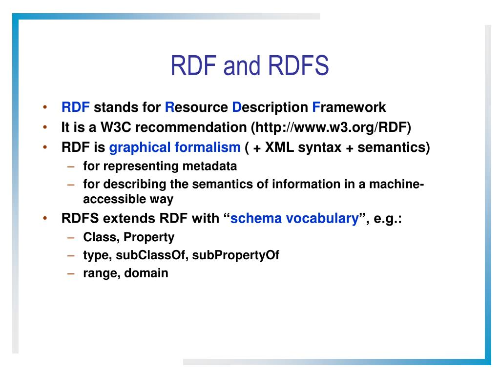 RDF and RDFS
