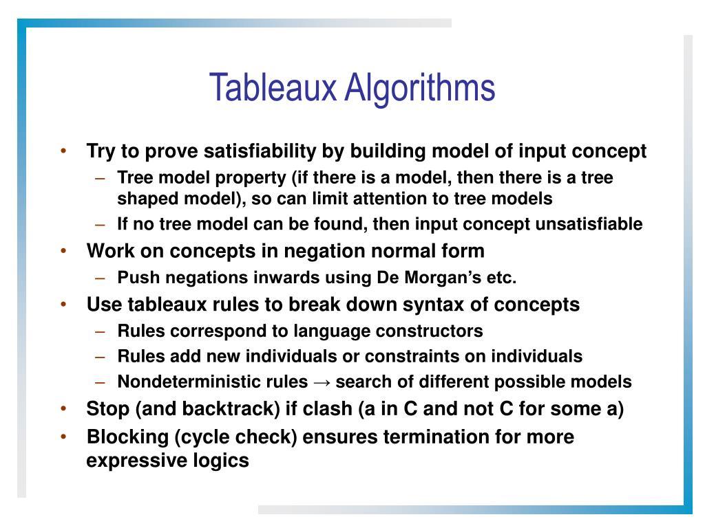 Tableaux Algorithms