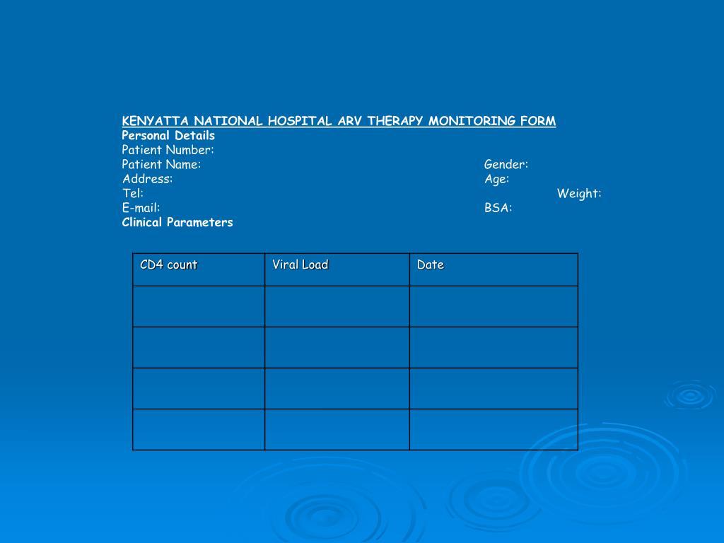 KENYATTA NATIONAL HOSPITAL ARV THERAPY MONITORING FORM