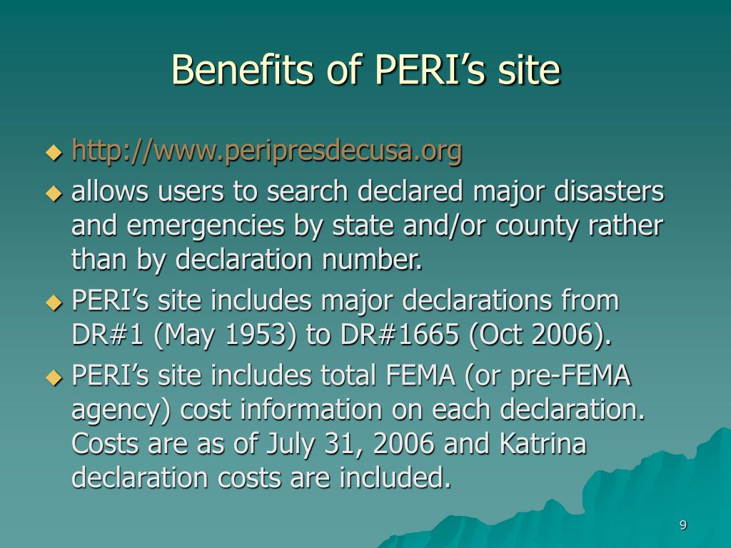 Benefits of PERI's site