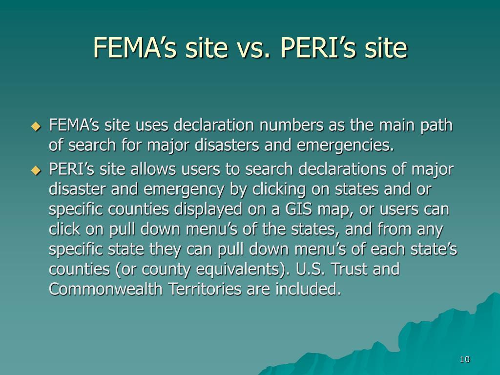 FEMA's site vs. PERI's site