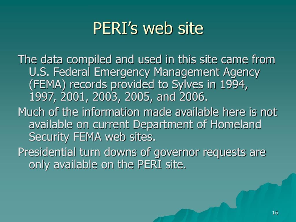 PERI's web site