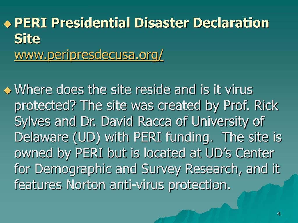 PERI Presidential Disaster Declaration Site