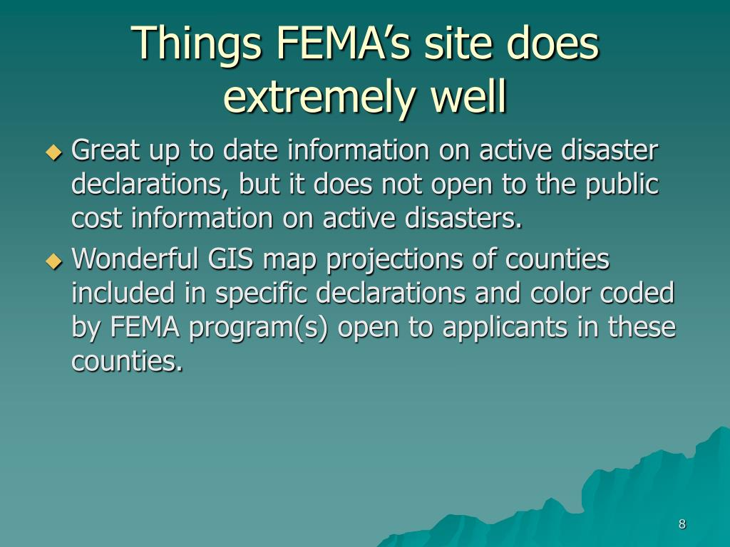 Things FEMA's site does extremely well