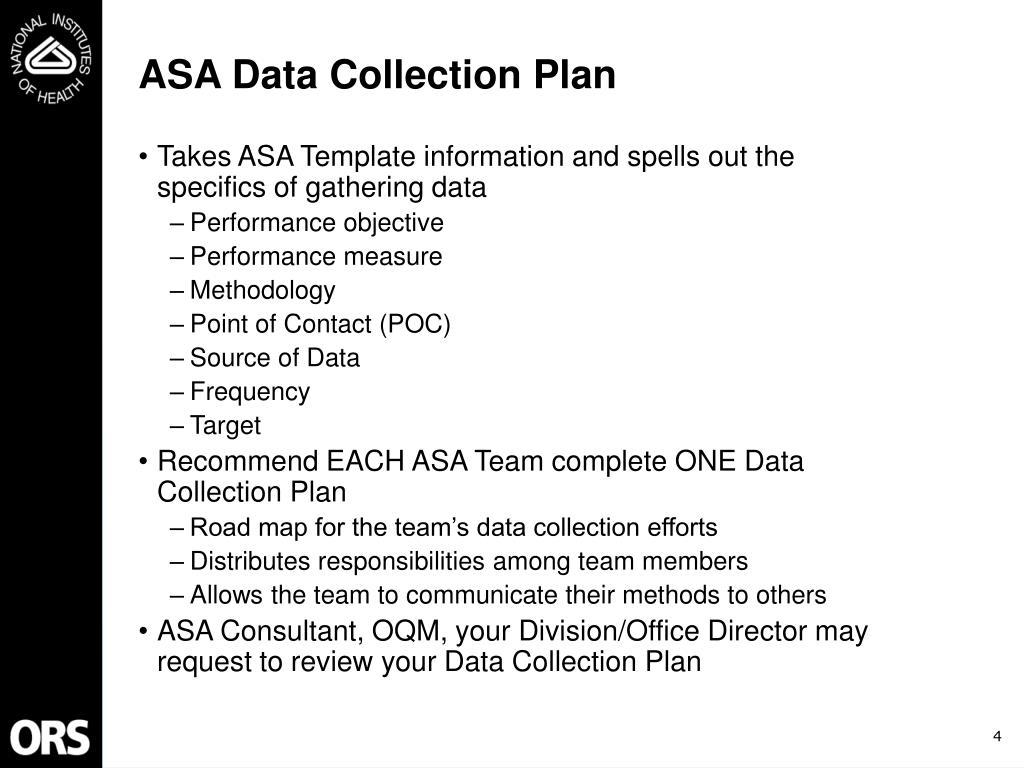 ASA Data Collection Plan