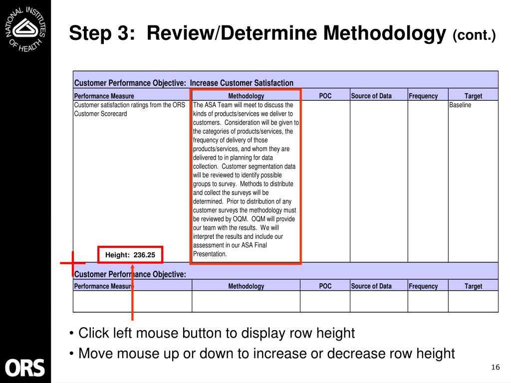 Step 3:  Review/Determine Methodology