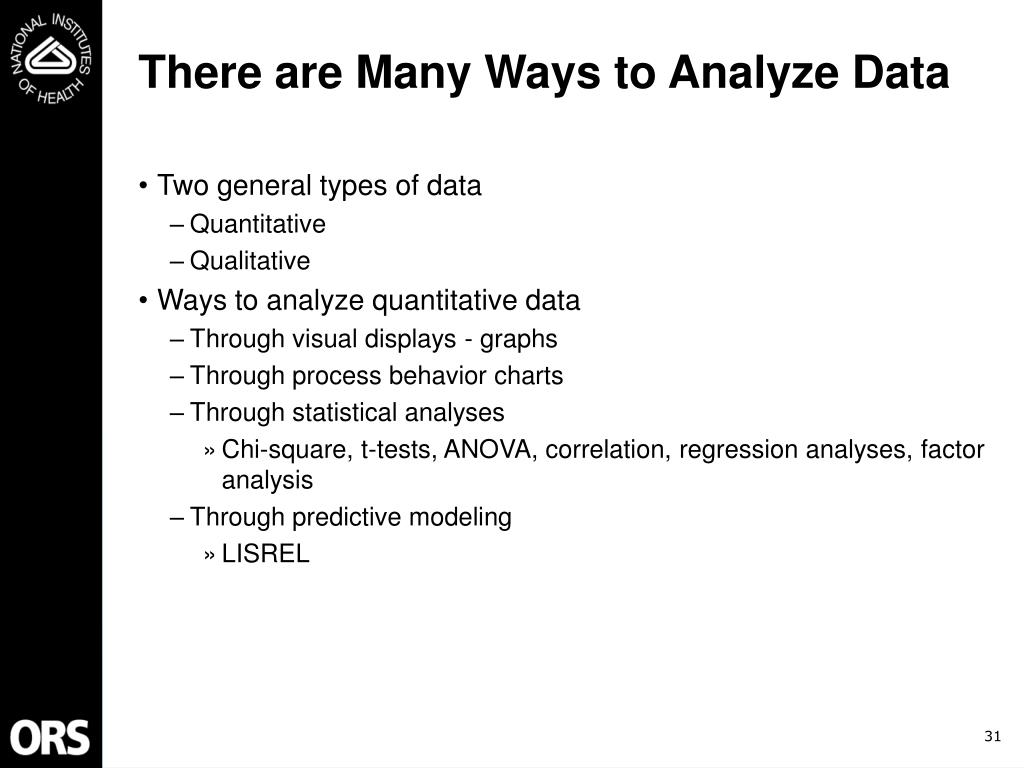 There are Many Ways to Analyze Data