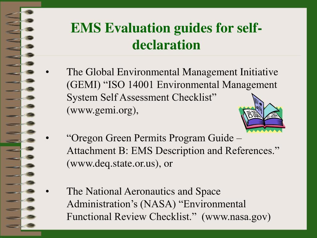EMS Evaluation guides for self-declaration