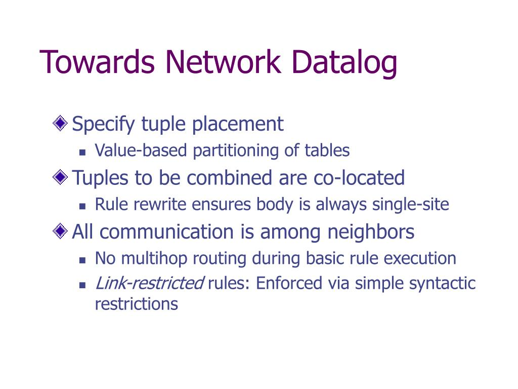 Towards Network Datalog