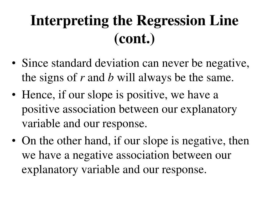Interpreting the Regression Line (cont.)