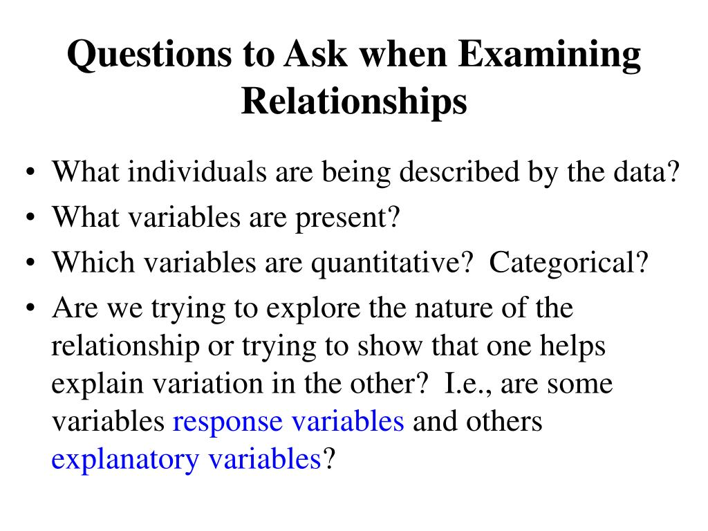Questions to Ask when Examining Relationships