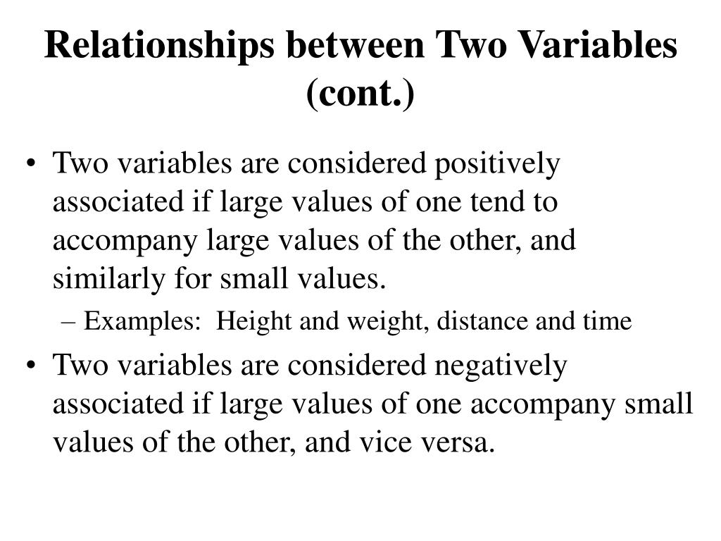 Relationships between Two Variables (cont.)