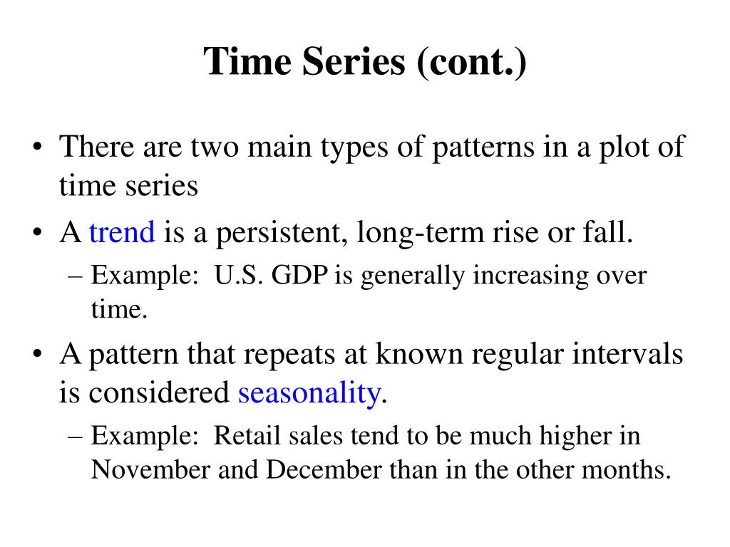 Time Series (cont.)