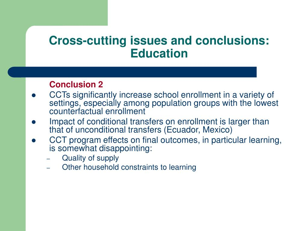 Cross-cutting issues and conclusions: Education