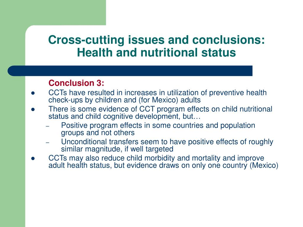 Cross-cutting issues and conclusions: Health and nutritional status
