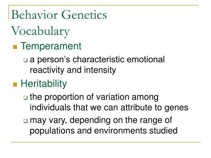 Behavior Genetics Vocabulary