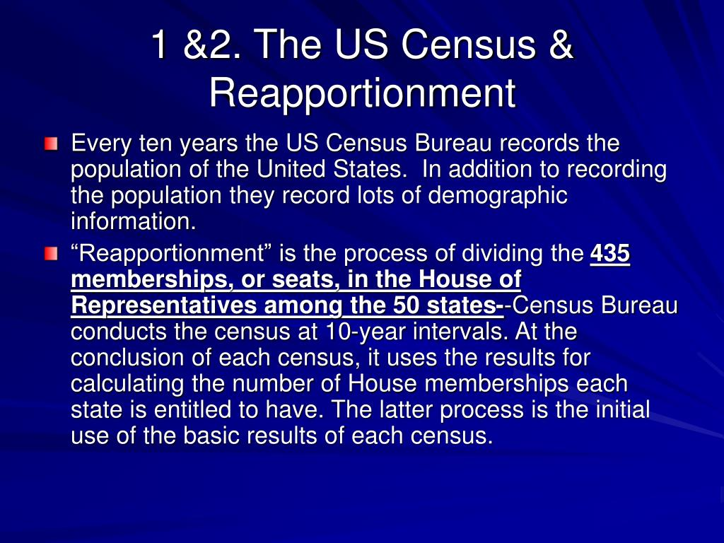 1 &2. The US Census & Reapportionment