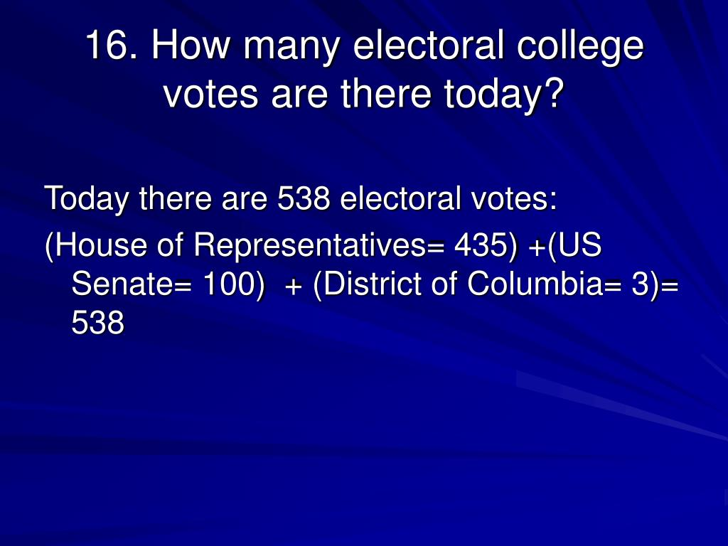16. How many electoral college votes are there today?