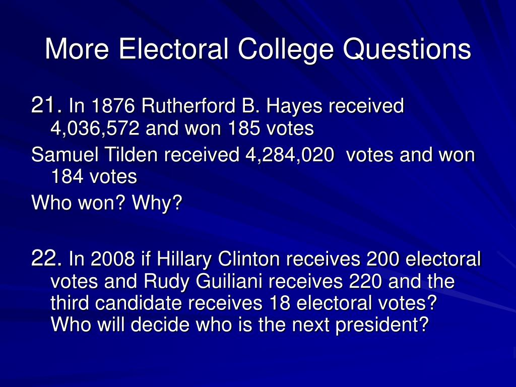 More Electoral College Questions