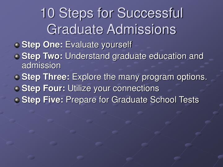 10 steps for successful graduate admissions l.jpg