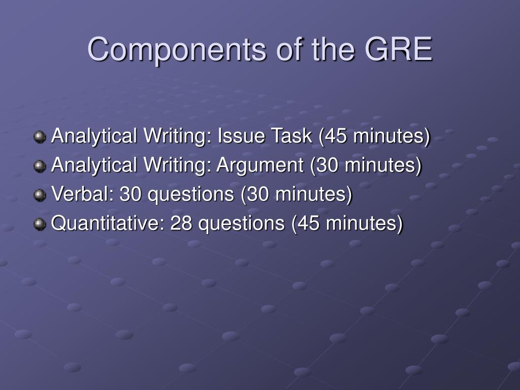 Components of the GRE