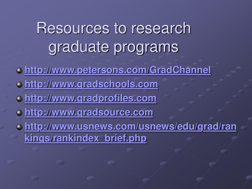 Resources to research graduate programs