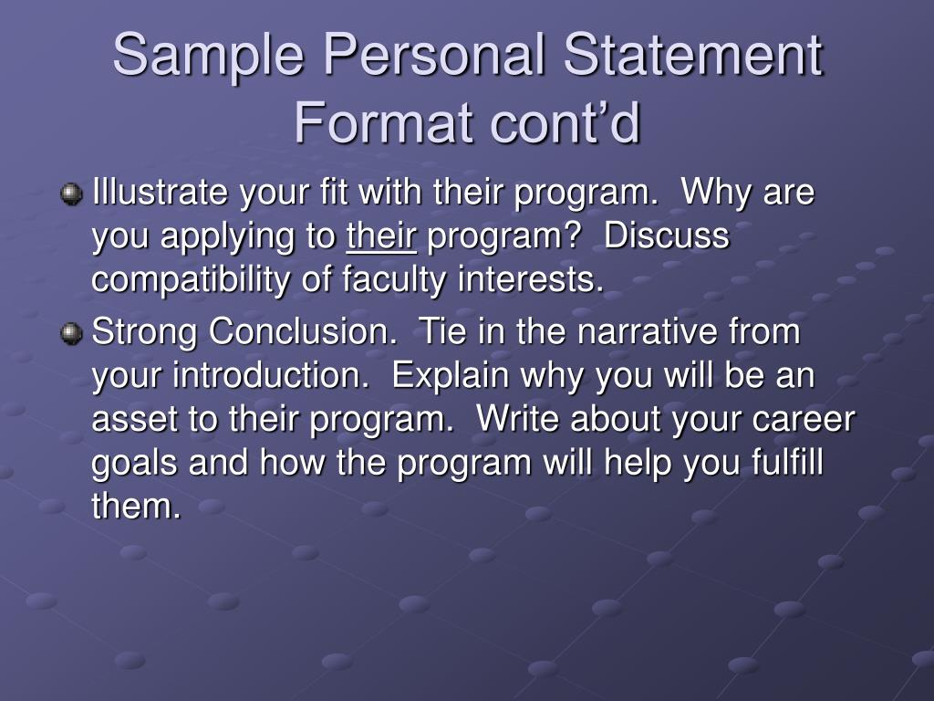 Sample Personal Statement Format cont'd