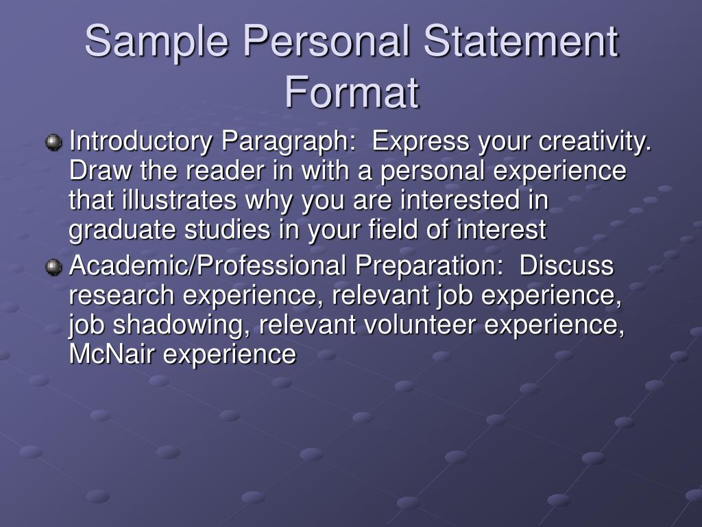 Sample Personal Statement Format