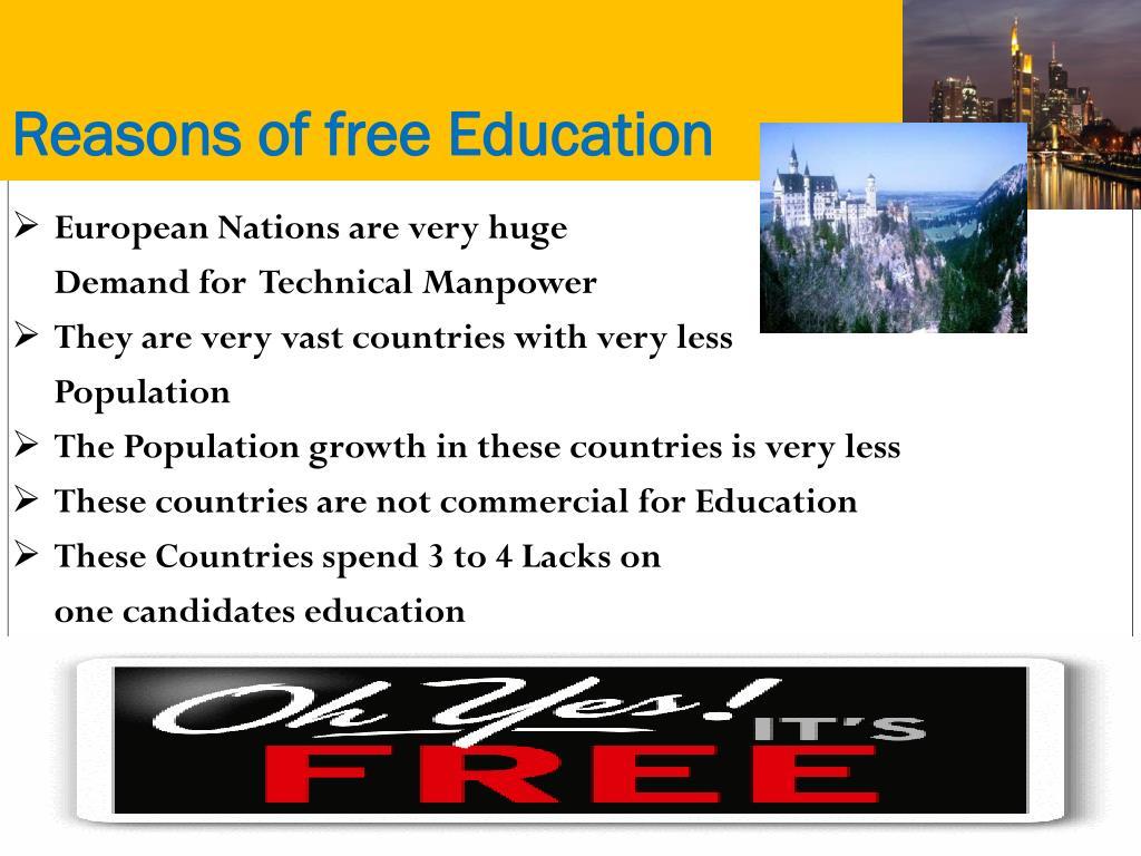 Reasons of free Education