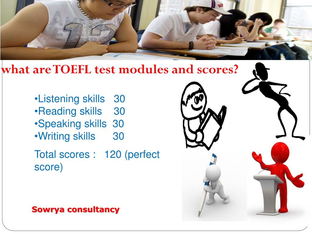 what are TOEFL test modules and scores?