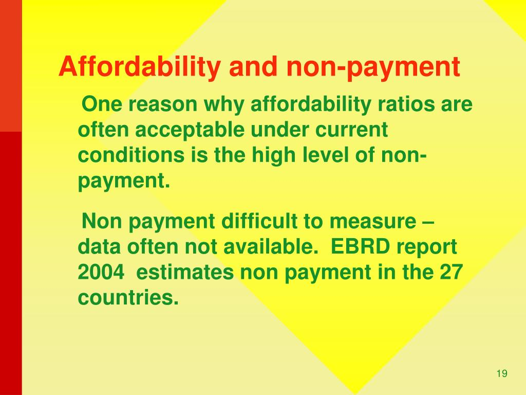 Affordability and non-payment