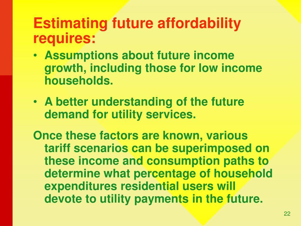 Estimating future affordability requires: