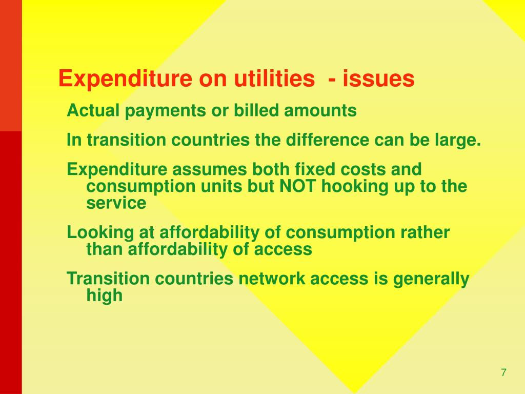 Expenditure on utilities  - issues