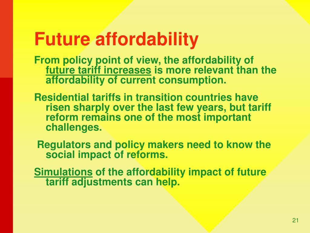 Future affordability